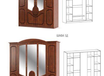 Барокко Шкаф 4 двери Мебель Сервис
