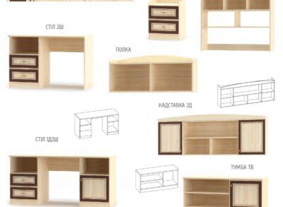 Дисней Шкаф 2Д3Ш (Мебель Сервис)