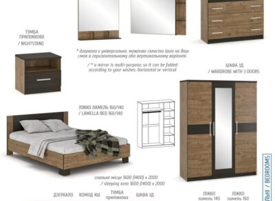 Вероника дуб самоа шкаф 3-х дверный  (Мебель Сервис)