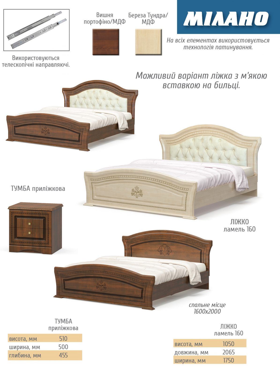 Кровать Мебель Сервис Милано вишня..