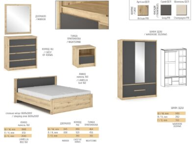 Доминика спальня серая (Мебель Сервис)