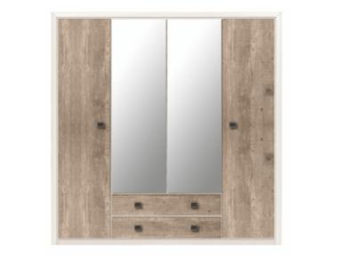 Шкаф КОЕН 2 SZF4D2S четырехдверный с двумя зеркалами фабрики БРВ-Украина для спальни и прихожей. Содержит два выдвижных ящика на роликовых направляющих и два закрытых отделения. В левом расположены полка и штанга для вешалок. Правое отделение содержит ряд удобных вместительных полок и штангу для вешалок. На средние двери смонтированы зеркала. По периметру шкафа имеется декоративное оформление в виде планки МДФ. Применяются петли Hettich. Для открывания используются квадратные ручки с орнаментом. Цвет: корпус – сосна каньон; фасад – дуб корабельный. Материал: корпус – ДСП; фасад – ДСП, планки МДФ. КОЕН 2 SZF4D2S